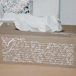 Kosmetikbox breit, antike Schrift Braun