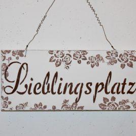 Schild Lieblingsplatz Weiss