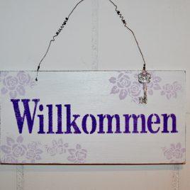 Schild Willkommen Violette/Lila