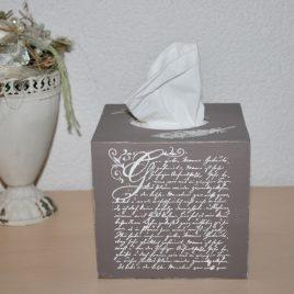 Kosmetikbox hoch, antike Schrift Braun