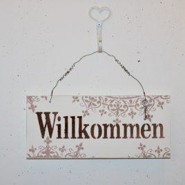 Schild Willkommen Weiss
