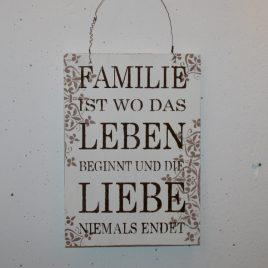 Schild Familie/Leben/Liebe
